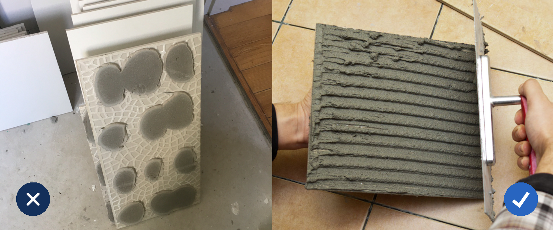 how to add adhesive to a tile the right way and the wrong way
