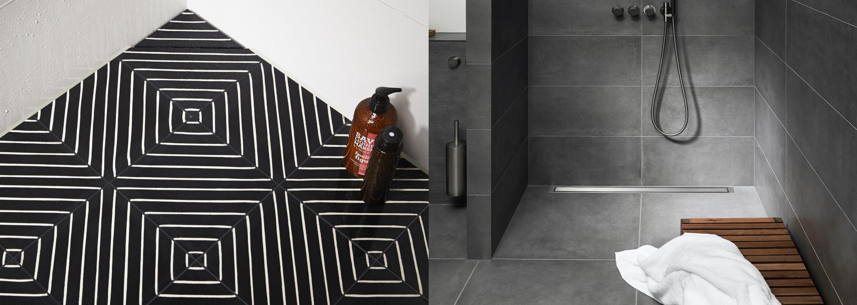 dark tiles in a wet room