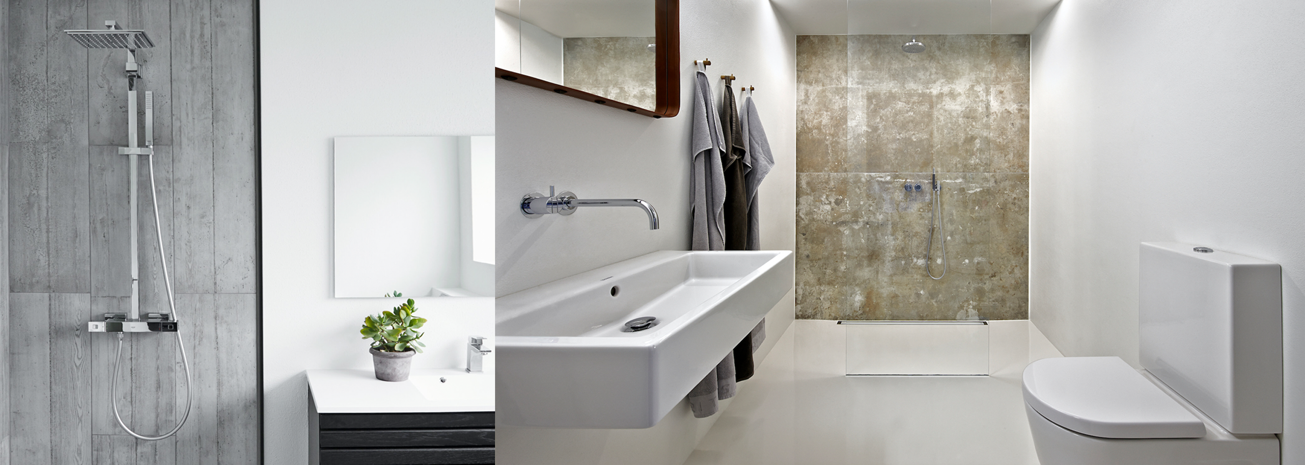 square fixtures in a wet room