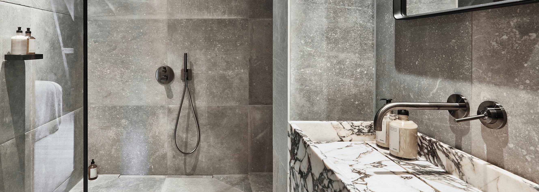 concrete tiles in wet room
