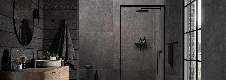 dark tiles in wet room inspiration