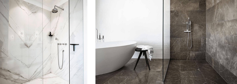 marble tiles in bathoom wet room