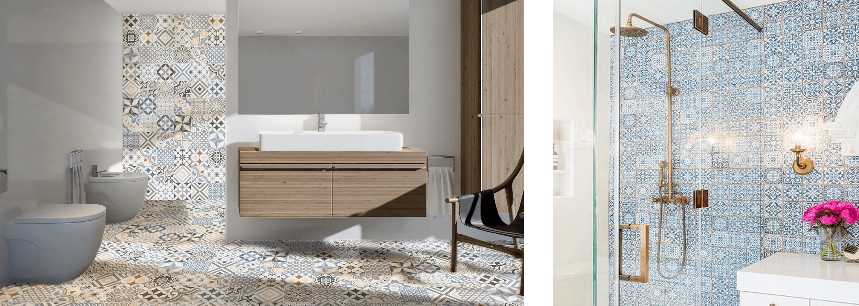 morrocan tiles in wet room bathroom