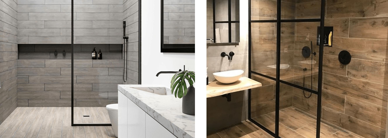 wood tiles in a wet room bathroom